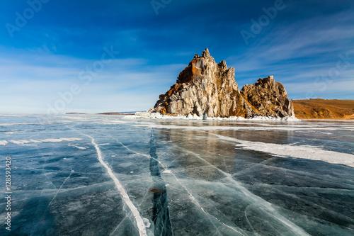 Foto op Canvas Shaman Rock, winter Lake Baikal. Russia