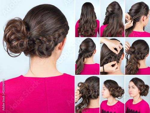 Papiers peints Salon de coiffure hairstyle bun and plait on curly hair tutorial