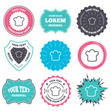 Label and badge templates. Chef hat sign icon. Cooking symbol. Cooks hat. Retro style banners, emblems. Vector
