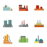 Factory set icons in cartoon style. Big collection of factory vector symbol stock illustration