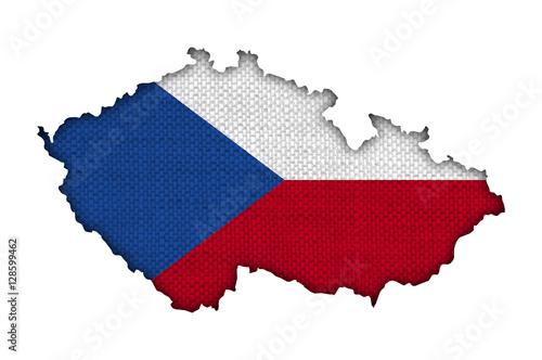 Poster Karte und Fahne von Tschechien auf altem Leinen