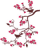 Naklejka tree branches with birds