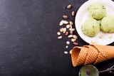 pistachio ice cream scoops