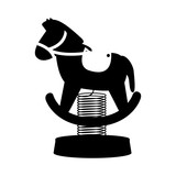 silhouette horse cart for carousel icon vector illustration