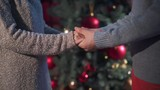 young couple hands petting at xmas time