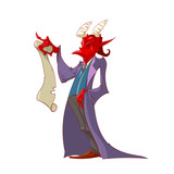 Colorful vector illustration of the devil holding a scroll paper contract for a soul pruchase