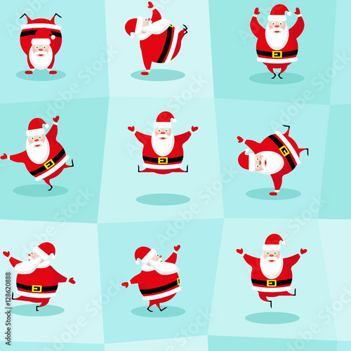 Materiał do szycia Seamless Happy New Year and Merry Christmas background. Dancing funny Santa Claus in different poses. Concept design for wallpaper, wrapping paper. Cartoon style. Vector illustration