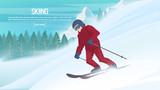 Winter sports - alpine skiing. Cartoon skier running downhill. Sportsman ski slope down from the mountain