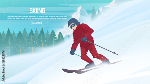 Fotobehang Turkoois Winter sports - alpine skiing. Cartoon skier running downhill. Sportsman ski slope down from the mountain