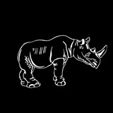 Hand-drawn pencil graphics, rhinoceros. Engraving, stencil style.