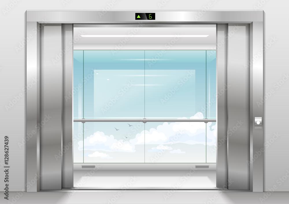 aluminium prints open doors panoramic elevator with a. Black Bedroom Furniture Sets. Home Design Ideas