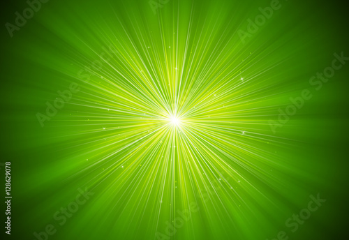 Poster Green glitter sparkles rays with bokeh fractal radial abstract background/texture