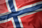 waving colorful flag of norway. - 128629699