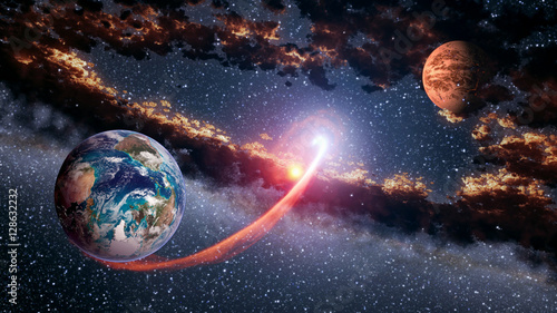 Foto op Canvas UFO Outer space planet Earth Mars launch astrology solar system galaxy universe. Elements of this image furnished by NASA.