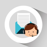 guy operator help service email vector illustration eps 10