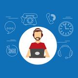 avatar man bearded contact us information service vector illustration eps 10
