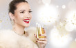 beautiful glamour woman holding champagne