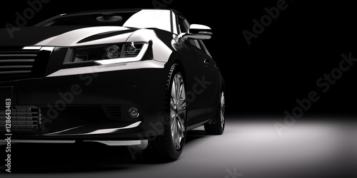 New black metallic sedan car in spotlight. Modern desing, brandless. - 128643483