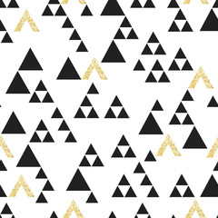 Gold geometric triangle seamless pattern. On white background. V