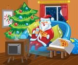 Santa watches TV