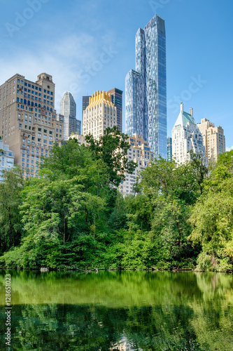 The Pond in Central Park with of the midtown Manhattan skyline in New York City Poster