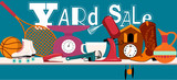 Yard sale banner with assorted household and sport  items lying on a table, EPS 8 vector illustration, no transparencies