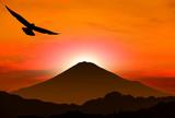 酉年の年賀状 鷹と富士山