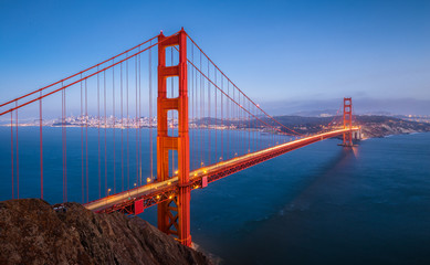 Golden Gate Bridge in twilight, San Francisco, California, USA