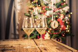 Glasses of sparkling white wine for Christmas and new year festivities - 128681278
