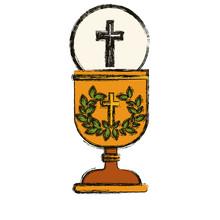 Korsa och kopp ikon. Religion gud ber tro och tro tema. Isolerad utformning. vektor