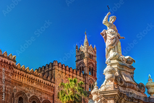Aluminium Palermo Sculpture in front of Palermo Cathedral church against blue sky, Sicily, Italy