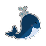 whale cute cartoon vector illustration icon graphic design