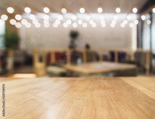Staande foto Industrial geb. Table top Counter Blur Bar Restaurant Pub Background