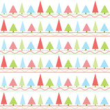 Seamless background of Christmas illustration with colorful Xmas tree suitable for kid Xmas wallpaper, postcard and scrap paper