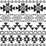 Seamless Navajo hand drawn print, retro Aztec pattern, Tribal design with scratches - 128711603