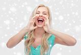 young woman or teenage girl shouting