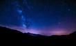 night sky stars milky way blue purple sky in starry night over mountains