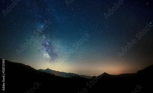 night sky stars with milky way on mountain background