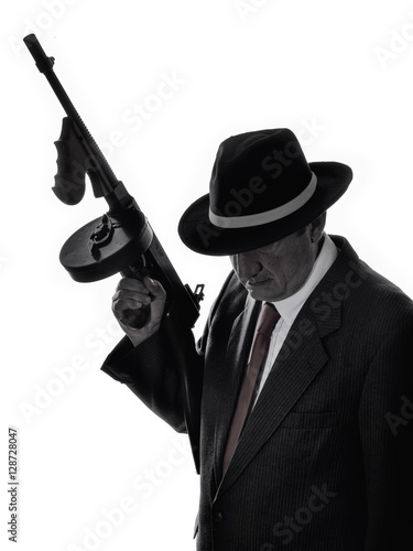 Poster Old style gangster with tommy gun, on white background