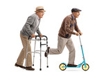 Senior walking with a walker and another senior riding a scooter