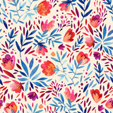 Watercolor ornate flowers seamless pattern. - 128731412