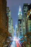 New York City at night - 42nd Street with traffic, long exposure