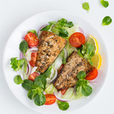 roasted mackerel fish with fresh salad,