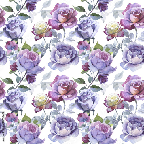 Wildflower rose flower pattern in a watercolor style isolated. - 128738404