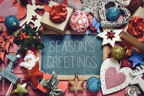 Poster ornaments and gifts and text seasons greetings
