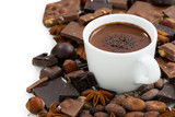 cup of hot chocolate and ingredients, isolated