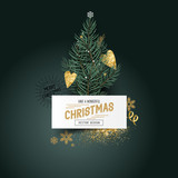 Christmas Pines and Decor. Xmas tree leaves with a label sign and seasonal decorations - vector illustration.
