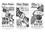 Vector set of vintage templates for barber shops offers, promotions