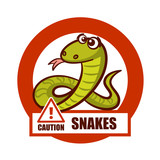 Caution Sign Snakes Sticker