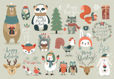 Christmas set, hand drawn style - calligraphy, animals and other elements.